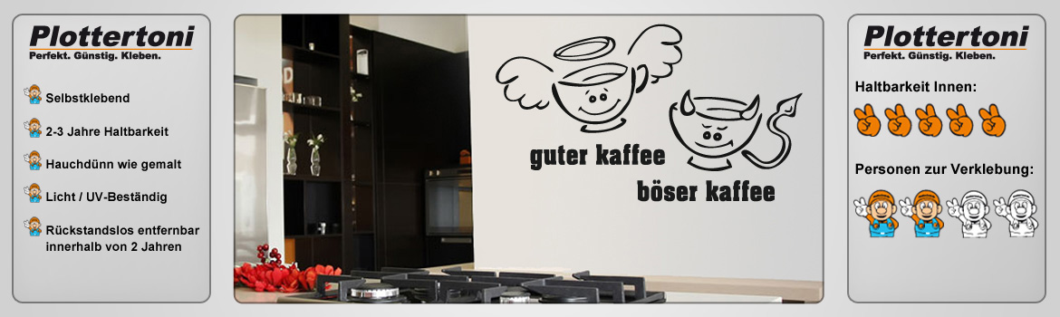 xxl guter kaffee b ser kaffee tasse wandtattoo aufkleber k che b ro. Black Bedroom Furniture Sets. Home Design Ideas