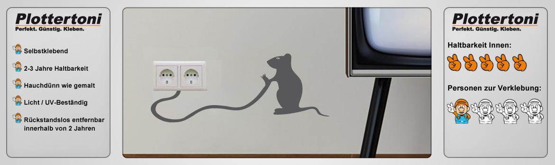 Steckdosentattoo Maus Schalter Wandtattoo Aufkleber Küche