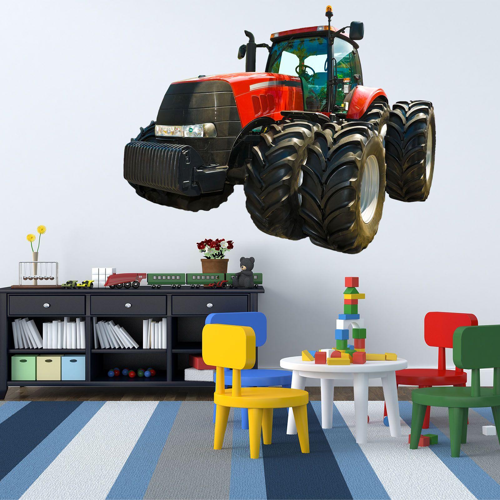 Wallprint wandtattoo realbild gro er roter traktor land - Traktor wandtattoo ...