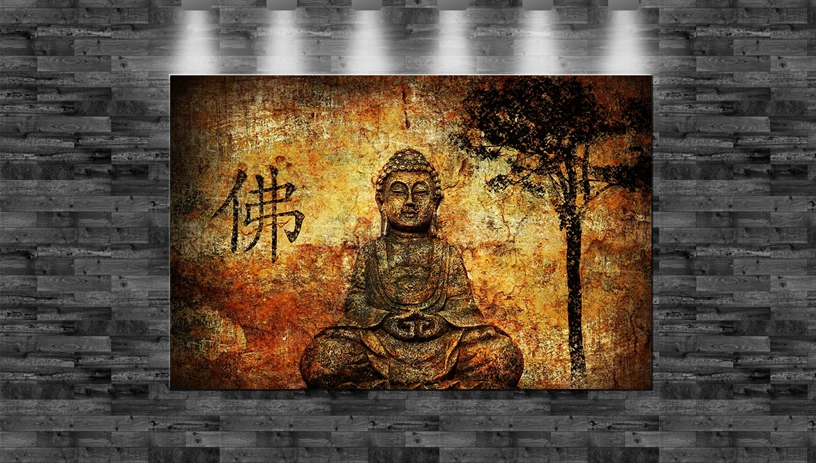 xxl buddha auf leinwand 110x70cm loft design religion gott ebay. Black Bedroom Furniture Sets. Home Design Ideas