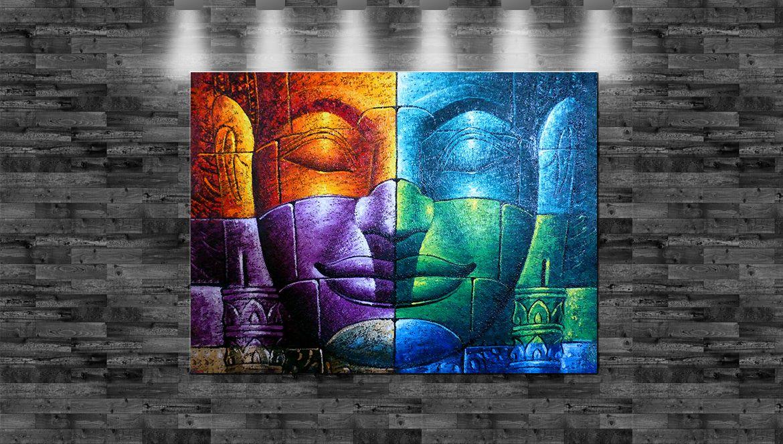 xxl buddha bunt stein auf leinwand 150x110cm loft design. Black Bedroom Furniture Sets. Home Design Ideas