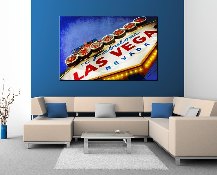 xxl las vegas stadtschild auf leinwand 160x105cm loft design amerika casino ebay. Black Bedroom Furniture Sets. Home Design Ideas