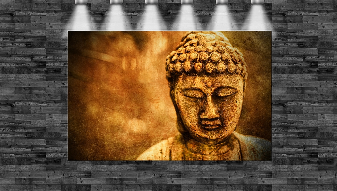 xxl steinbuddha statue auf leinwand 110x70cm loft design buddhismus grunge ebay. Black Bedroom Furniture Sets. Home Design Ideas