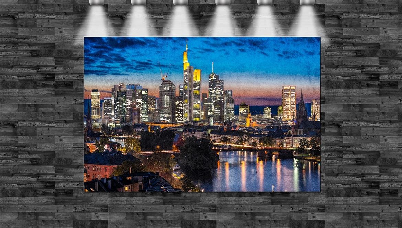 xxl frankfurt skyline auf leinwand keilrahmen wolkenkratzer skyline ebay. Black Bedroom Furniture Sets. Home Design Ideas