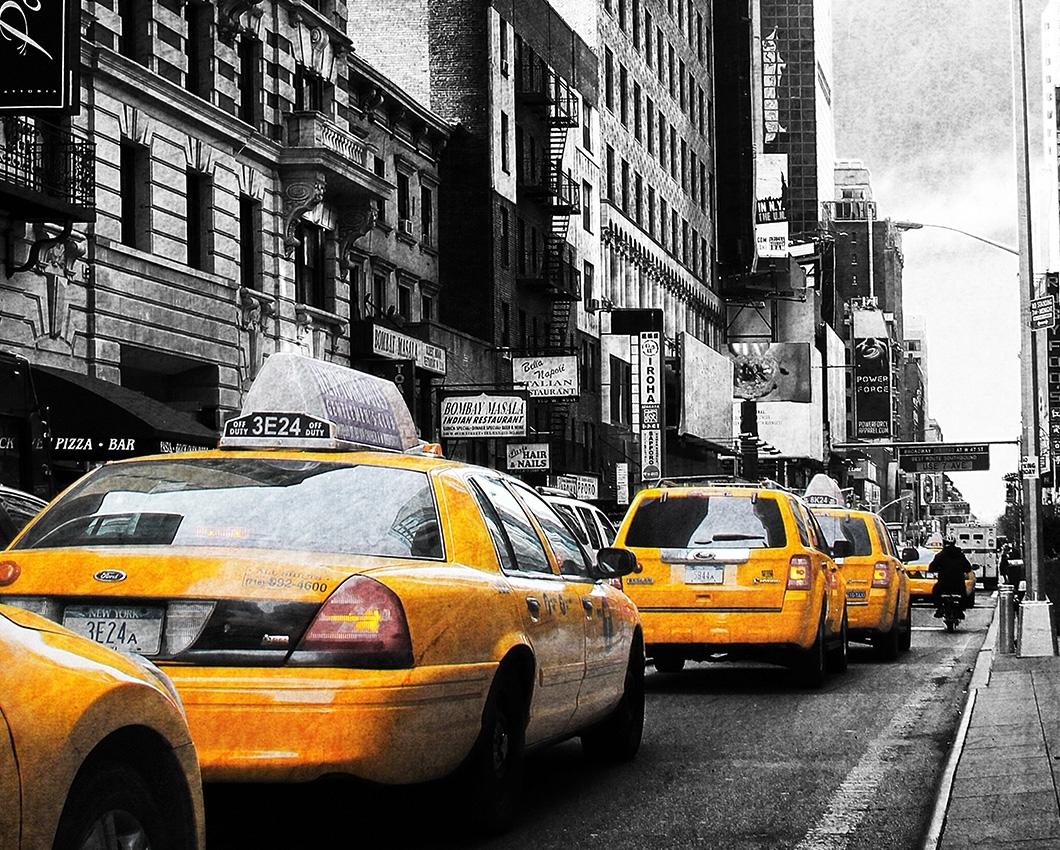new york taxi colorkey auf leinwand keilrahmen amerika big apple. Black Bedroom Furniture Sets. Home Design Ideas