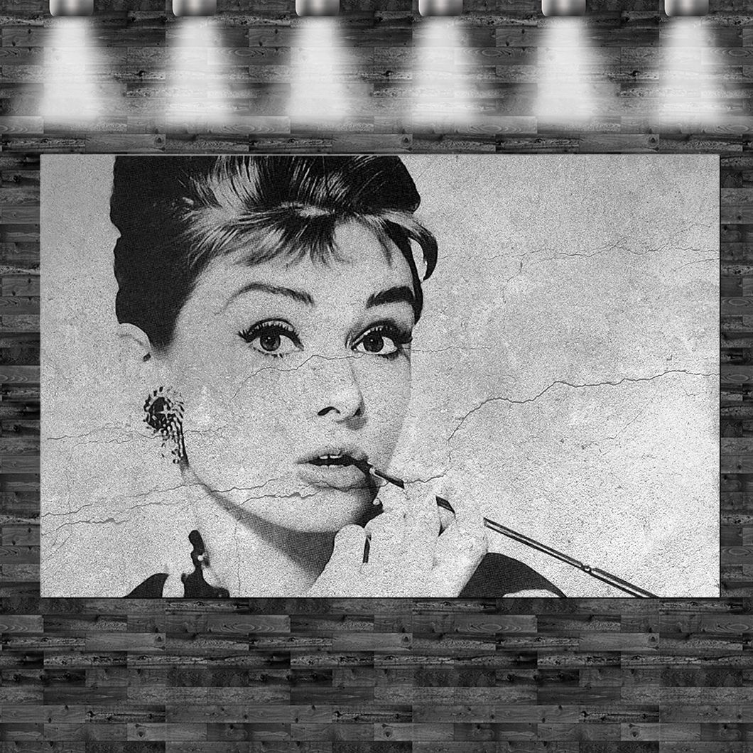 xxl audrey hepburn smoking auf leinwand keilrahmen loft design rauchen ikone ebay. Black Bedroom Furniture Sets. Home Design Ideas