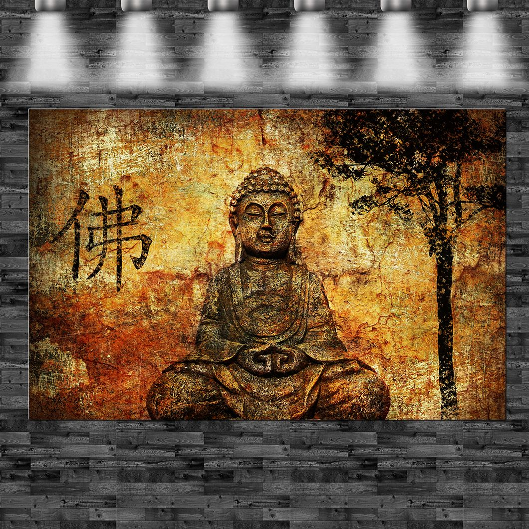 xxl buddha gold auf leinwand keilrahmen loft design sun sonne religion ebay. Black Bedroom Furniture Sets. Home Design Ideas