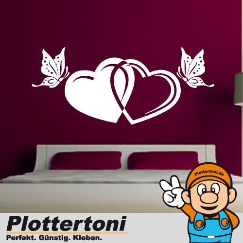 Xxl Herz Mit Schmetterling Wandtattoo Aufkleber Schlafzimmer Liebe