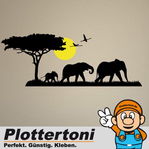 Wandtattoo savanne afrika safari elefant wanddeko for Wandtattoo afrika
