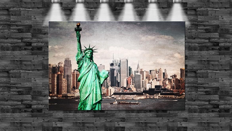 Liberty Freiheitsstatue NYC 1p Bild Bilder auf Leinwand Wandbild Poster