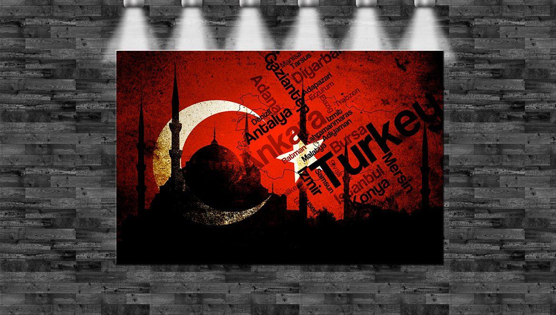 XXL Türkische Flagge Moschee 110x70cm auf Leinwand Keilrahmen Loft ...