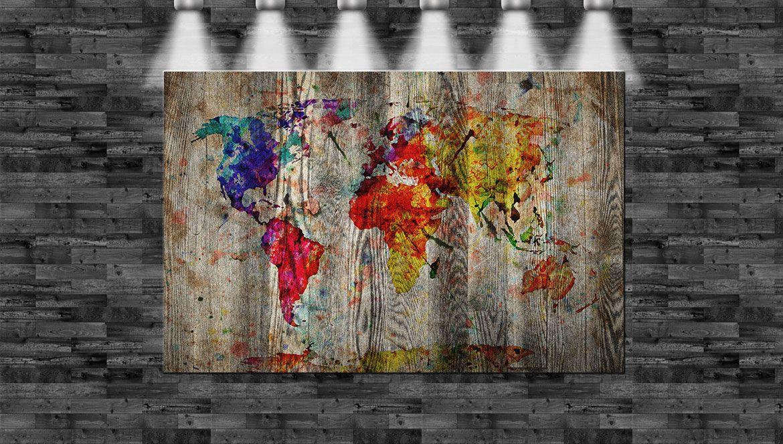 XXL Weltkarte auf Holz gemalt 160x105cm auf Leinwand Keilrahmen Loft ...