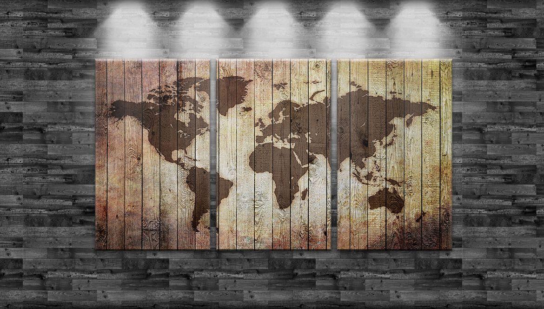 auf Leinwand 3-teilig 180cm x100cm Optik XXL Weltkarte eingebrannt in Holz